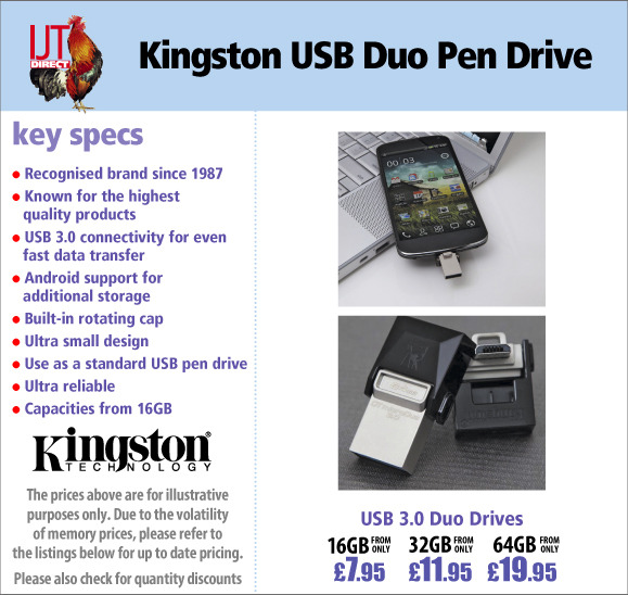 Kingston USB 3.0 Duo Pen Drives in capacities from 16GB from £7.95