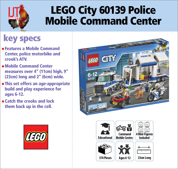 LEGO City 60139 Police Mobile Command Center kids toy with 4 mini figures for £39.95